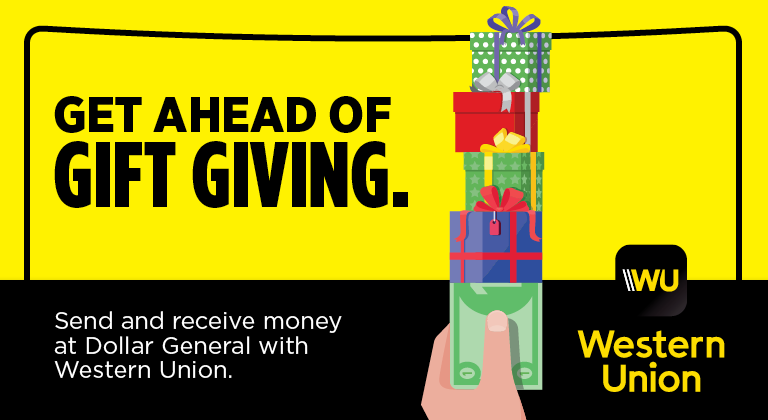 Send money with Western Union at Dollar General.