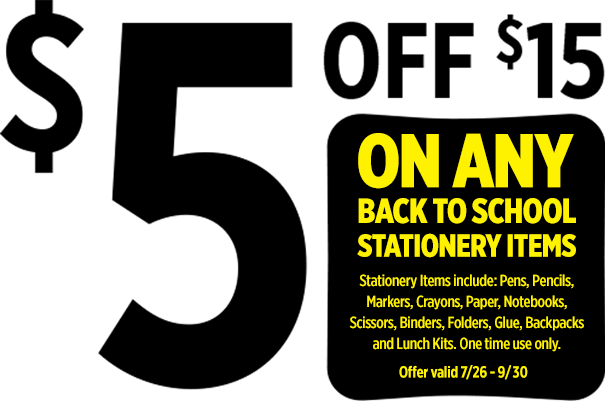 $5 Off $15 on any back to school stationary items.