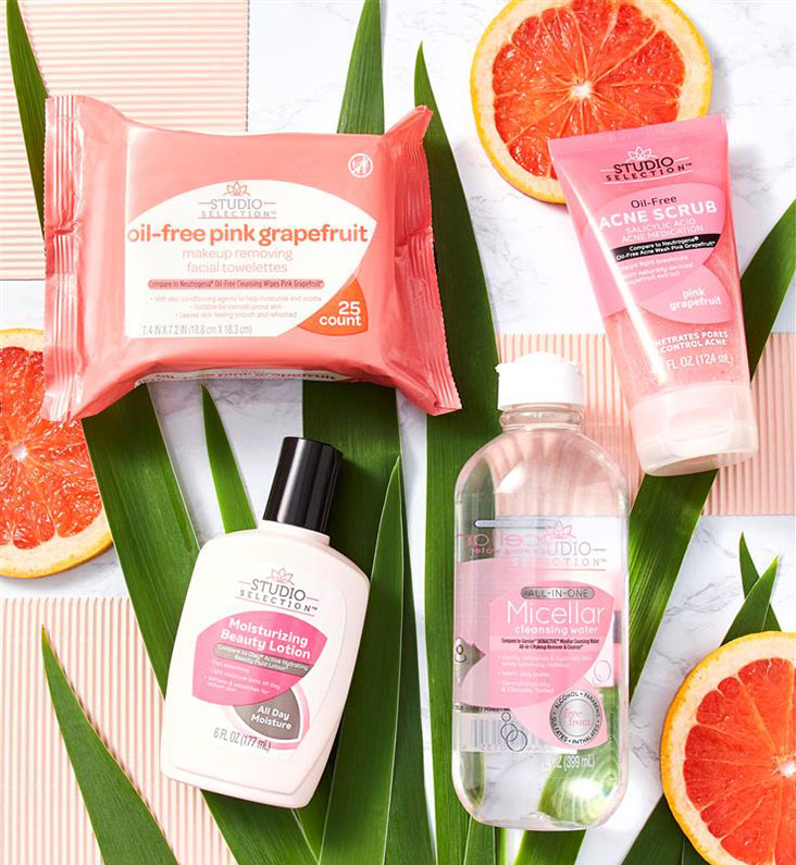 Group of face care products.