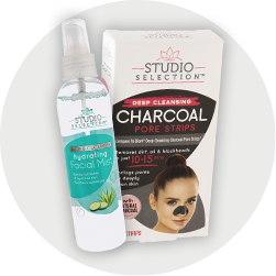 Facial mist and charcoal mask.