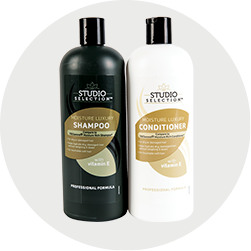 Shampoo and conditioner bottles.